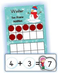 Math Centers - Winter (Beginning Skills) 127 pages. A page from the unit: 10 Frame addition Ten Frame Activities, 1st Grade Activities, Kindergarten Math Activities, Winter Activities, Ten Frames, 10 Frame, Daily 5 Math, Math Magic, Math School