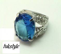 Blue  and White Swarovski Crystals Silver Pl Ring  size 8