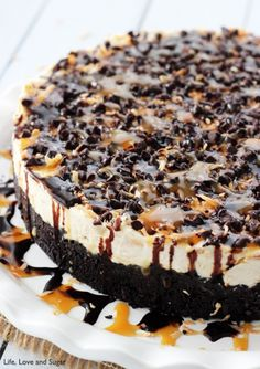 No Bake Samoa Cheesecake - You don't even need the cookies, so you can make it all year long!
