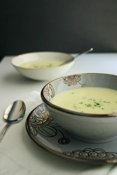 A recipe for Vichyssoise, a creamy, chilled potato and leek soup with a hint of nutmeg and chives. Perfect for spring or summer.