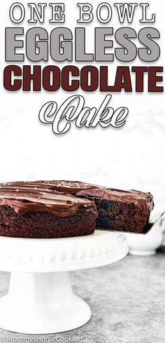 This One Bowl Eggless Chocolate Cake is a fluffy and moist cake with delicious and intense chocolate flavor! You only need one mixing bowl and a whisk to make it. #recipe #eggless #eggfree #onebowl #easy #cake #chocolate #fromscratch #ganache #howto #dessert #eggallergy via @mommyhomecookin Eggless Chocolate Cake, Eggless Desserts, Eggless Recipes, Delicious Cake Recipes, Chocolate Flavors, Yummy Cakes, Chocolate Recipes, Yummy Food, Delicious Dishes