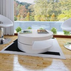 NEW Coffee Table Round White Swiveling Top High Gloss Lacquered White Finish   eBay