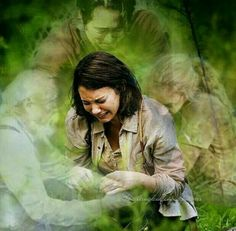 Maggie Greene surrounded by the ghosts of her family: Hershel Greene and Beth Greene and Glenn Rhee