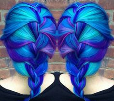 Blue purple teal hair