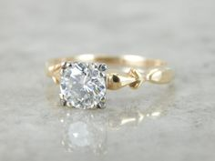 Vintage Diamond Engagement Ring with One Carat Fine by MSJewelers
