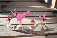 Decoration Origami Grue Crane Ornement Rose Table Cadeau Bois Flotté Fête Ocean Naissance Anniversaire Nature Plage Fille Mère