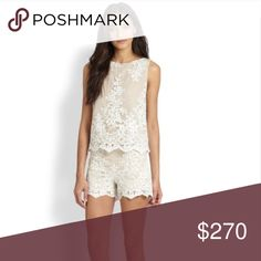 Alice and Olivia Amal Lace Boxy Crop Top & Shorts Boxy ivory lace crewneck top and matching ivory shorts. Top is a small, shorts are size 6, but would likely fit a 4 as well. Worn once, excellent condition. Will add pics later Alice + Olivia Tops Tank Tops