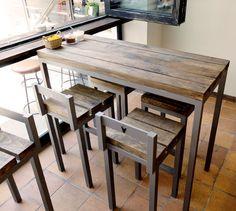 muebles madera hierro cafetería