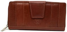 Ladies  Womens Large Leather Matinee Wallet with Mulitple Features  Mid Brown -- For more information, visit image link.