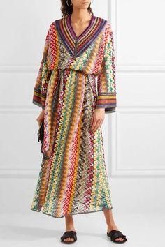 Missoni - Belted Metallic Crochet-knit Maxi Dress - Green - IT42