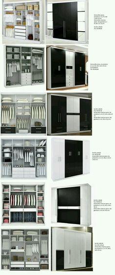 Layouts diferentes de armários.