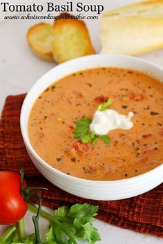 Skinny Tomato Basil Soup Recipe. Pure deliciousness with no guilt!  whatscookingwithruthie.com