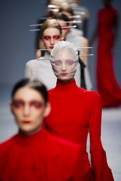 You, too, can be beautiful with red crap around your eyes and two knitting needles stabbed through your head. Spring 2013 Runway Collection. This saves a lot of time on hair and make up...