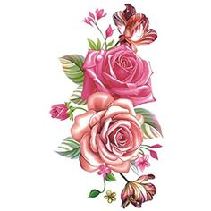 WYUEN 5 Sheets Flower Tattoos Waterproof Temporary Tattoo Sticker For Women Men Fake Body Art 10.5X6cm P-061 *** Click image for more details. (This is an affiliate link and I receive a commission for the sales) #Makeup