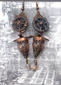 Steampunk Bronze Clockwork Hot Air Balloon Flying Machine Earrings by AestheticAmbrosia on Etsy https://www.etsy.com/listing/252404552/steampunk-bronze-clockwork-hot-air