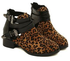 Super cute leopard printed ankle booties with straps and cutouts!