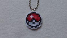 Cross Stitch 8-bit Pokeball Pendant by CraftyCat768 on Etsy
