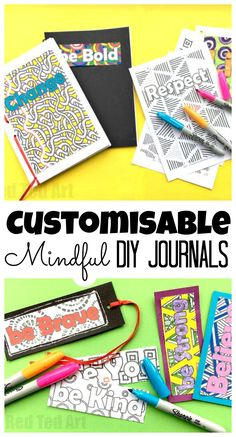 Free - How to Make a Journal - Mindful Journals for Kids . This is a super easy and great looking DIY Journal for kids. Fully customisable and a great way to empower kids or use as part of an anti bullying campaign. Empower kids to be mindful. Anti Bullying Activities, Activities For Teens, Art Therapy Activities, Yoga For Kids, Diy For Kids, Crafts For Kids, Kid Yoga, Mindfulness For Kids, Mindfulness Activities