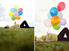 cute cute cute maternity photos - could make the color of the balloons allude to if it's a boy (blue) or girl (pink)