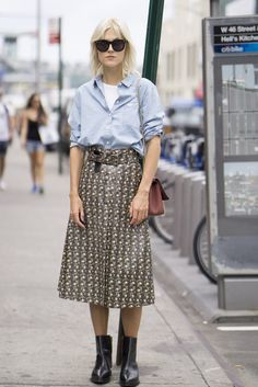 mens city shirt worn with a-line patterned midi skirt || Saved by Gabby Fincham ||