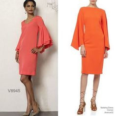 The sleeves are everything. Sew the look with Vogue Patterns #V8945 made in a tangerine crepe. #sewthelook #VoguePatterns |  Inspo dress from Avenue32.