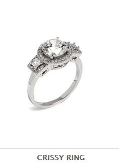 The Crissy Ring will delight your digits… and your eyes too! Featuring a round solitaire CZ surrounded by a bumper crop of pave finery and baguettes, this ring is true bliss.  - Sterling silver, CZs  - Available sizes 6 - 8 $128 Sale Ends 3/11  www.adornedandspangled.kitsylane.com
