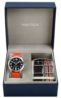 Nautica Mens BFD 101 Black Dial Stainless Steel Case Watch Set w 3 Nylon Bands | eBay