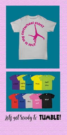 Girls Gymnastics T Shirt Girls Cartwheel T by LuckyBeeAndMe What little gymnast wouldn't LOVE this shirt? Choose your color and lets get ready to TUMBLE!