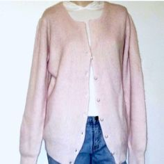 Side Effects Pink Angora & Lambs Wool Cardigan Beautiful Vintage Sweater / Tag is Size Small, However Fits As A Size Medium / Light Pink Side Effects Sweaters Cardigans