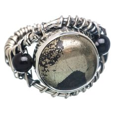 Pyrite In Magnetite (healer's Gold) 925 Sterling Silver Ring Size 8 RING781303