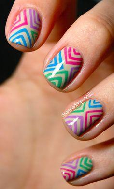 Colorful offset chevron nail art