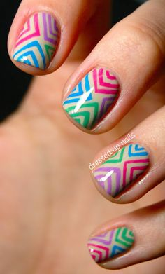 Colorful offset chevron nail art