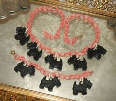 Vintage 1940's 1950's Celluloid Necklace & by prettykitty13. I have these Scotties!