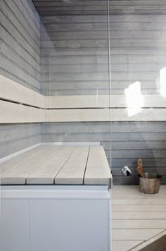 white, light grey sauna, if we get a place with room for a sauna, I want one. Maybe on an old form we could redo.. dreaming..