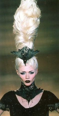 Goth fashion with a tall updo