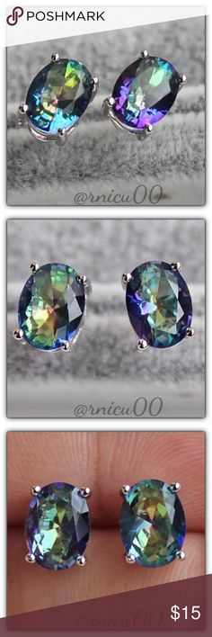🆕Blue Mystic Topaz 18K Silver Oval Stud Earrings! Mystic Topaz/Fire Topaz Stones are so Beautiful, with their Amazing Rainbow Color! They also bring Balance & Happiness to your Life!👌  ✨Will be shipped Securely in Velvet Bag ✨Genuine Mystic Topaz Stones; 6-7mm Oval Cut ✨Primary Color-Rainbow, Secondary-Blue ✨18K White Gold Filled  *NO TRADES *Prices are FIRM-Listed at Lowest Price Unless BUNDLED! *Sales are Final-Please Read Descriptions! Boutique Jewelry Earrings