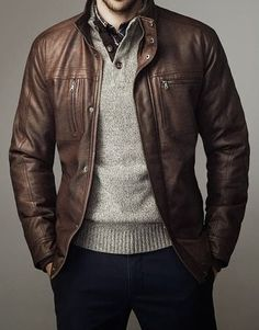 Leather Jacket and sweater