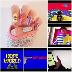 Bts nail art HIXTAPE hope world daydream K Pop Nails, Cute Nails, Pretty Nails, Hair And Nails, Bts Makeup, Cute Nail Designs, Easy Nail Art, Nail Arts, Nail Inspo