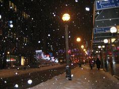Snow flakes dancing in the street lights. Street Lights, Snow Flakes, Let It Snow, Dancing, Snowflakes, Floor Standing Lamps, Dance