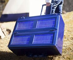 Solar-Powered Anywhere Fridge.  The Fridge folds flat for storage.  Its solar panels absorb sunlight all day, using some energy for the fridge in daytime, and the rest to charge the ion battery for cold air all night. It can also be charged with a standard outlet or car lighter, and powers 2 built-in USB ports. Small weighs 20 lbs. and stores 30 quarts. Large weighs 40 lbs and stores 80 quarts. http://www.dudeiwantthat.com/outdoors/tools/solar-powered-anywhere-fridge.asp