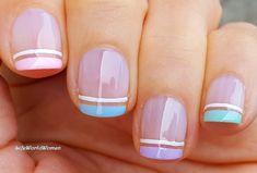 #Pastel #Frenchmanicure #Nailart Idea Coloured French Manicure, French Manicure Nails, French Manicure Designs, French Nails, Nail Designs, Pastel Nails, Blue Nails, Easy Nail Art, Nail Tutorials