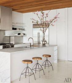 Kelly Klein's kitchen in Palm Beach. AD Magazine.