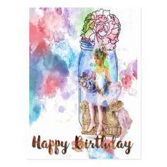 Happy Birthday Ballet Watercolor Postcard - postcard post card postcards unique diy cyo customize personalize