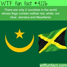 The only countries with no blue, white, or blue in their flag -  WTF fun facts