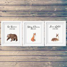SET OF 3 woodland nursery art prints bear fox deer by tinyinklings