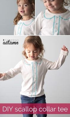 DIY SCALLOP COLLAR TEE | jazz up a plain t-shirt with a pretty faux scallop collar and button placket - you won't believe how easy it is to do!