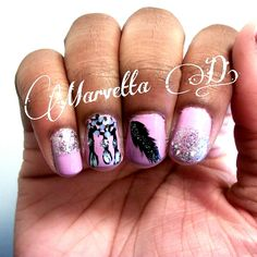 mix and match dreamcatcher and feather nails    #nails #nailart