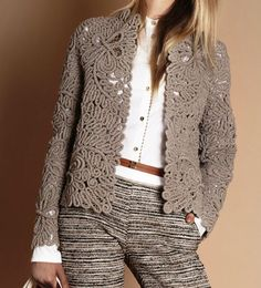 New knitting crochet patterns french Ideas Crochet Jacket, Lace Jacket, Crochet Cardigan, Knit Crochet, Dress Design Patterns, Clothing Patterns, Knit Fashion, Fashion Outfits, Irish Crochet