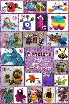 Crochet Toys Ideas Monster Toys Part 1 - Animal Crochet Pattern Round Up via Crochet Round, Cute Crochet, Crochet Baby, Knit Crochet, Crochet Patterns Amigurumi, Crochet Dolls, Knitting Patterns, Crocheted Toys, Crochet Monsters