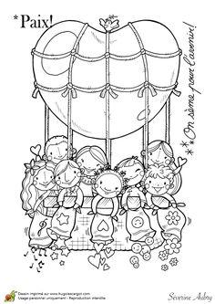 Coloriage sur le thème de la paix, le ballon de la paix - Hugolescargot.com